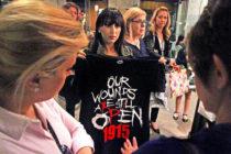 Հայոց Ցեղասպանությունը վկայակոչող շապիկների ցուցադրության արգելքից հետո ցուցարարները հավաքվել էին Americana-ի մոտ